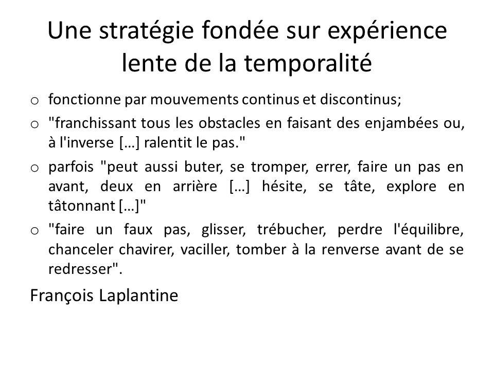 Une stratégie fondée sur expérience lente de la temporalité o fonctionne par mouvements continus et discontinus; o
