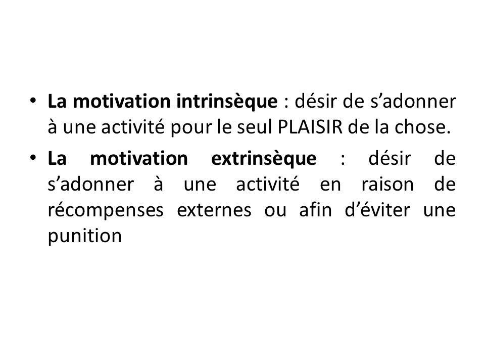 La motivation intrinsèque : désir de sadonner à une activité pour le seul PLAISIR de la chose. La motivation extrinsèque : désir de sadonner à une act