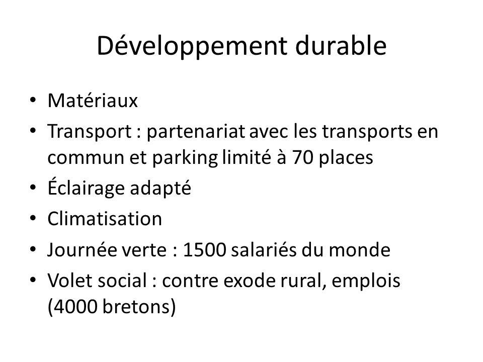 Développement durable Matériaux Transport : partenariat avec les transports en commun et parking limité à 70 places Éclairage adapté Climatisation Jou