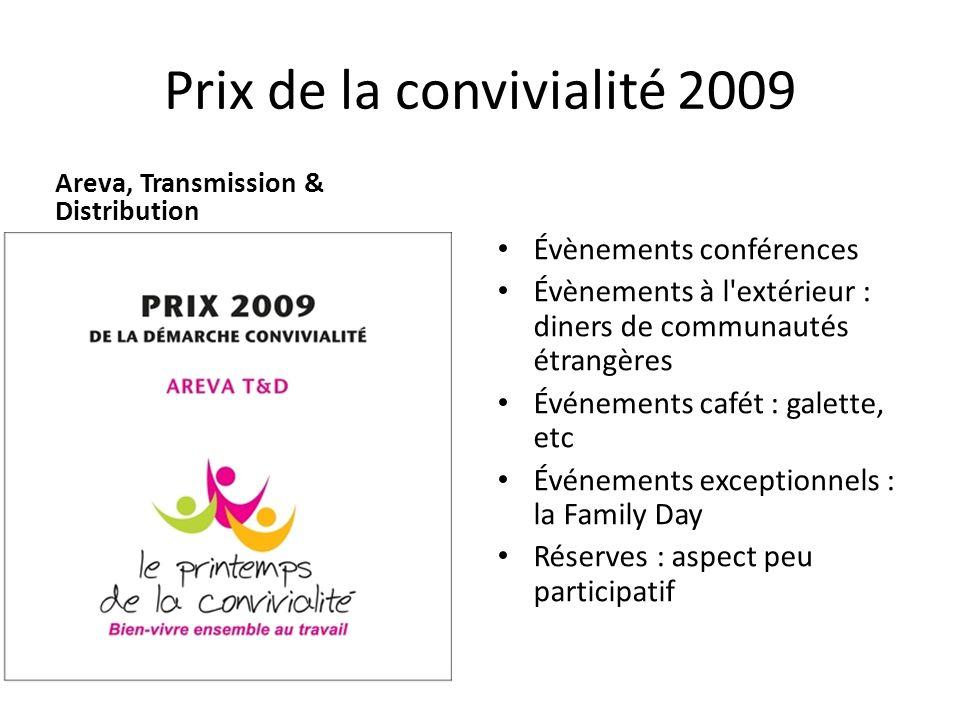 Prix de la convivialité 2009 Areva, Transmission & Distribution Évènements conférences Évènements à l'extérieur : diners de communautés étrangères Évé