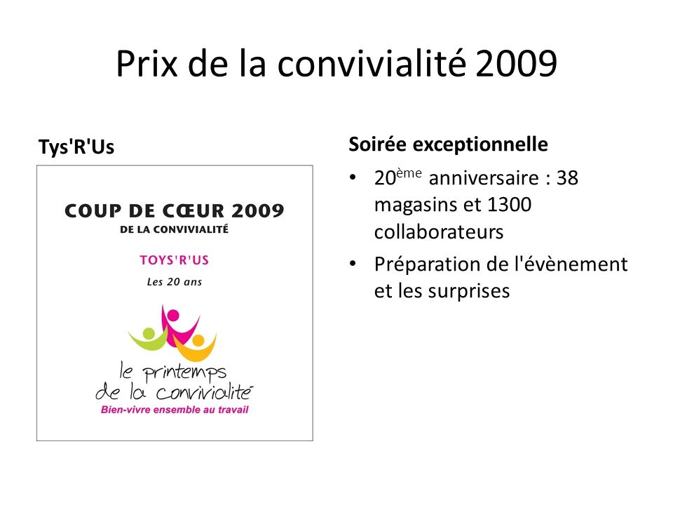 Prix de la convivialité 2009 Tys'R'Us Soirée exceptionnelle 20 ème anniversaire : 38 magasins et 1300 collaborateurs Préparation de l'évènement et les