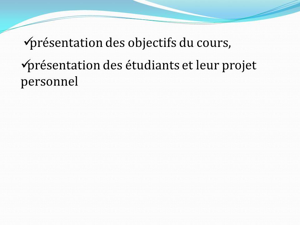 présentation des étudiants et leur projet personnel présentation des objectifs du cours,