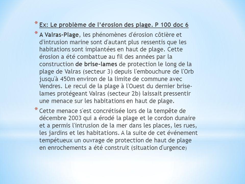 * Ex: Le problème de lérosion des plage. P 100 doc 6 * A Valras-Plage, les phénomènes d'érosion côtière et d'intrusion marine sont d'autant plus resse