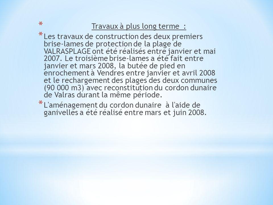 * Travaux à plus long terme : * Les travaux de construction des deux premiers brise-lames de protection de la plage de VALRASPLAGE ont été réalisés en