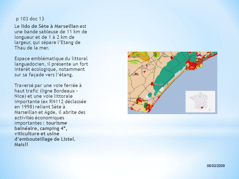 p 103 doc 13 Le lido de Sète à Marseillan est une bande sableuse de 11 km de longueur et de 1 à 2 km de largeur, qui sépare lEtang de Thau de la mer.