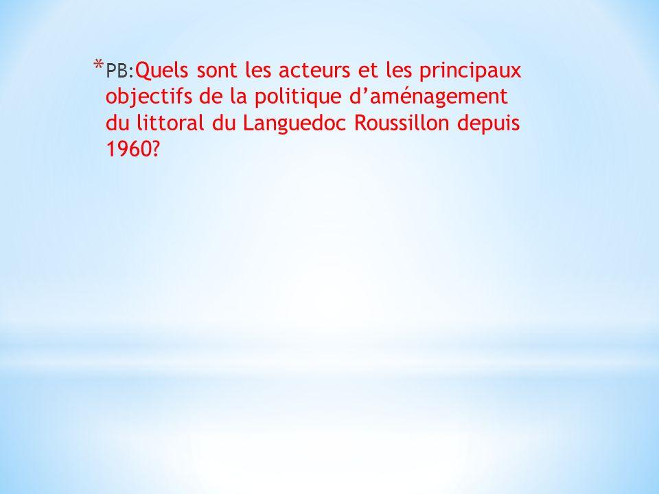* PB: Quels sont les acteurs et les principaux objectifs de la politique daménagement du littoral du Languedoc Roussillon depuis 1960?