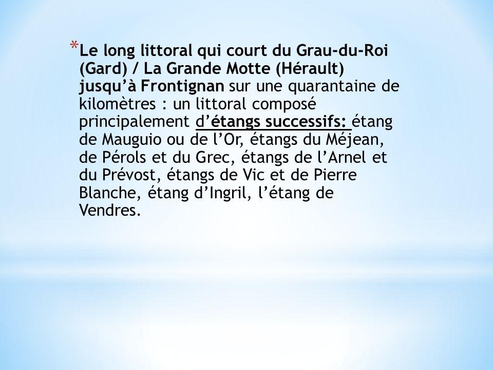 * Le long littoral qui court du Grau-du-Roi (Gard) / La Grande Motte (Hérault) jusquà Frontignan sur une quarantaine de kilomètres : un littoral compo