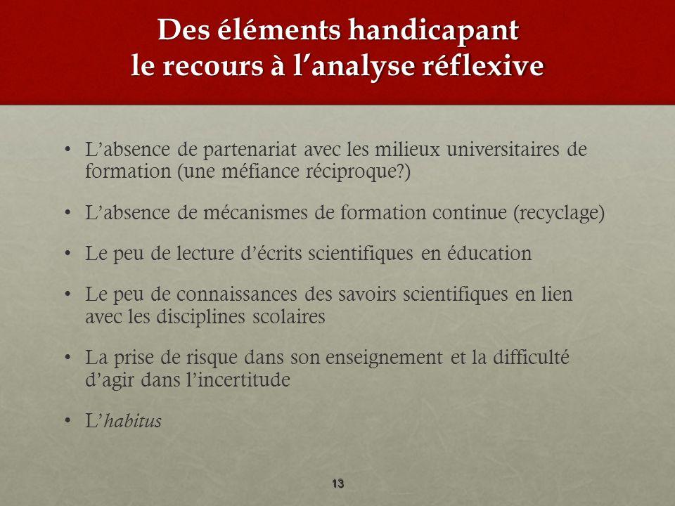 Des éléments handicapant le recours à lanalyse réflexive Labsence de partenariat avec les milieux universitaires de formation (une méfiance réciproque