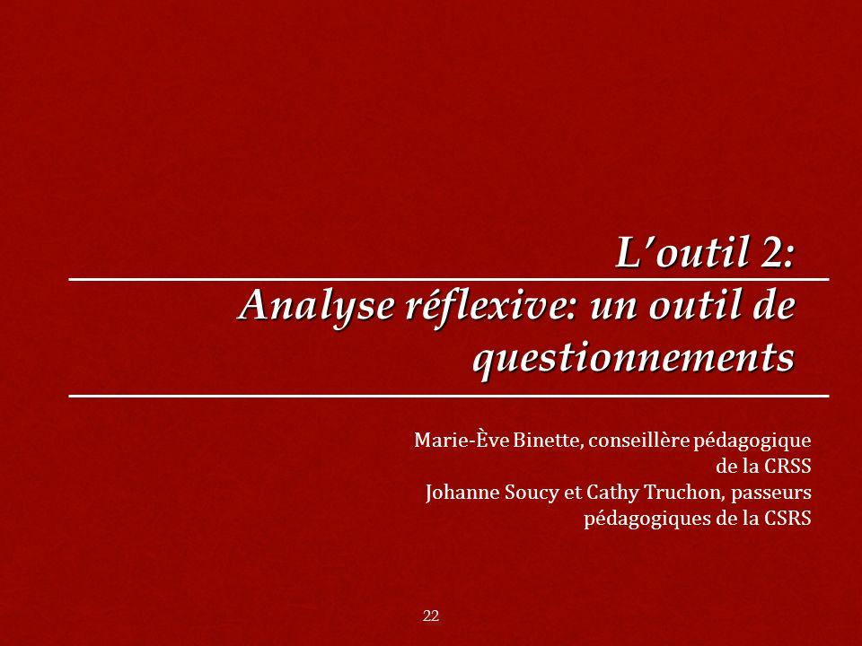 22 Loutil 2: Analyse réflexive: un outil de questionnements Marie-Ève Binette, conseillère pédagogique de la CRSS Johanne Soucy et Cathy Truchon, passeurs pédagogiques de la CSRS