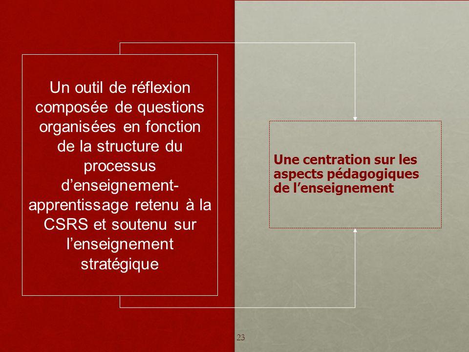 Une centration sur les aspects pédagogiques de lenseignement Un outil de réflexion composée de questions organisées en fonction de la structure du processus denseignement- apprentissage retenu à la CSRS et soutenu sur lenseignement stratégique 23