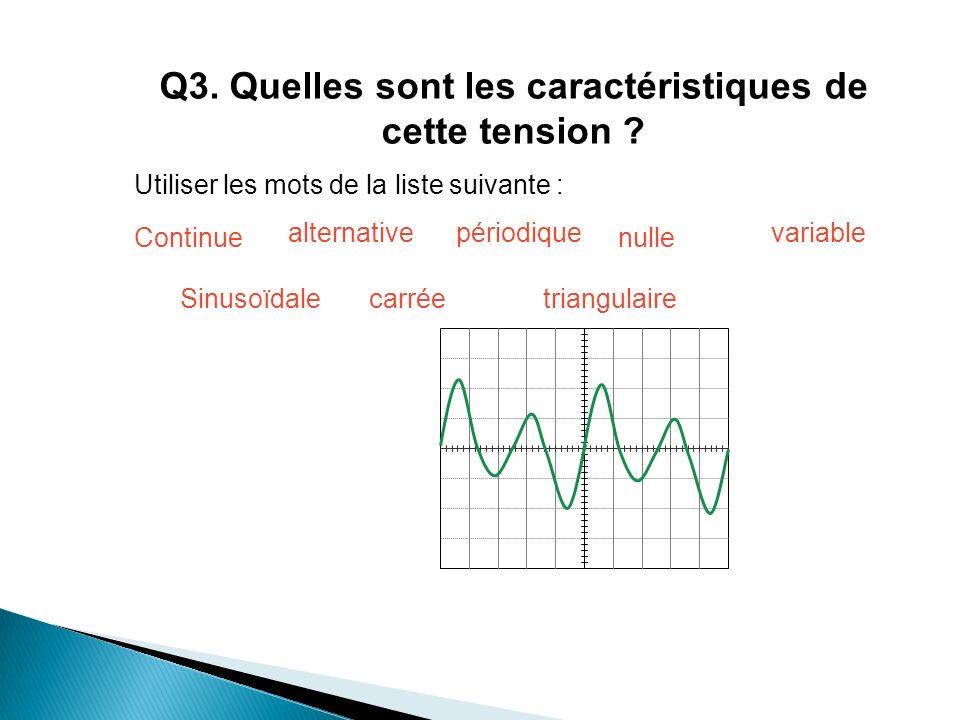 Q3.Quelles sont les caractéristiques de cette tension .