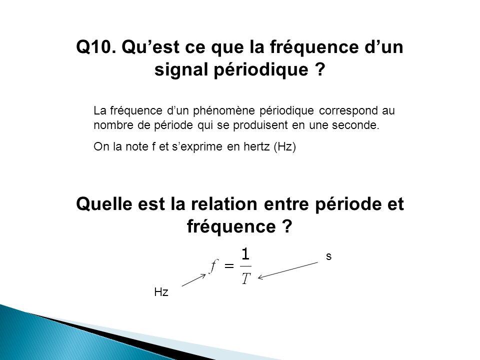 Q10. Quest ce que la fréquence dun signal périodique ? Quelle est la relation entre période et fréquence ? La fréquence dun phénomène périodique corre