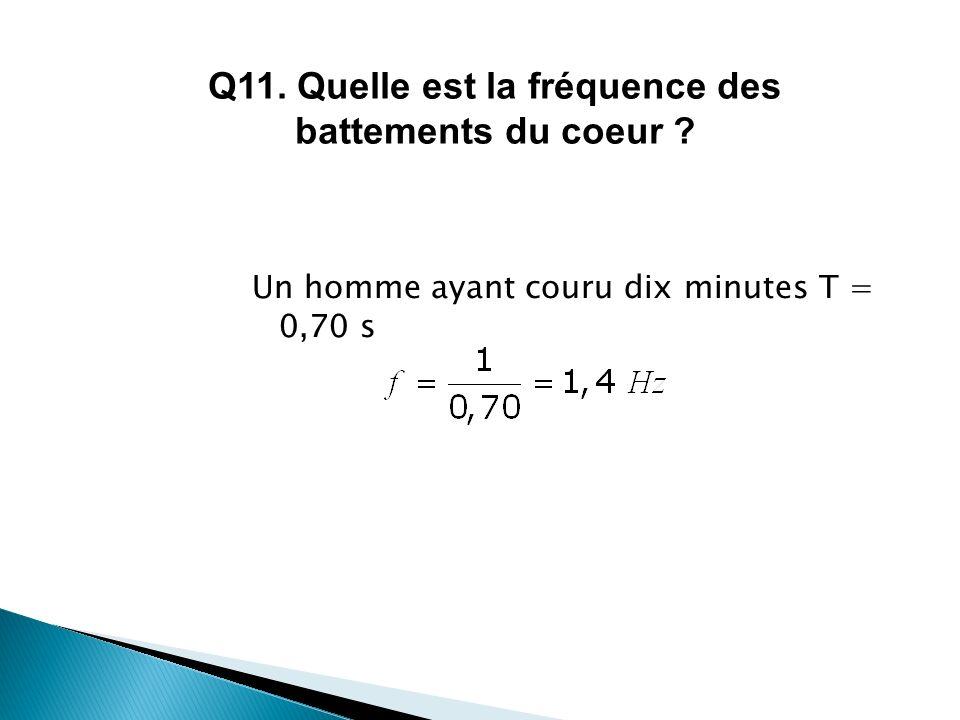 Un homme ayant couru dix minutes T = 0,70 s Q11. Quelle est la fréquence des battements du coeur ?