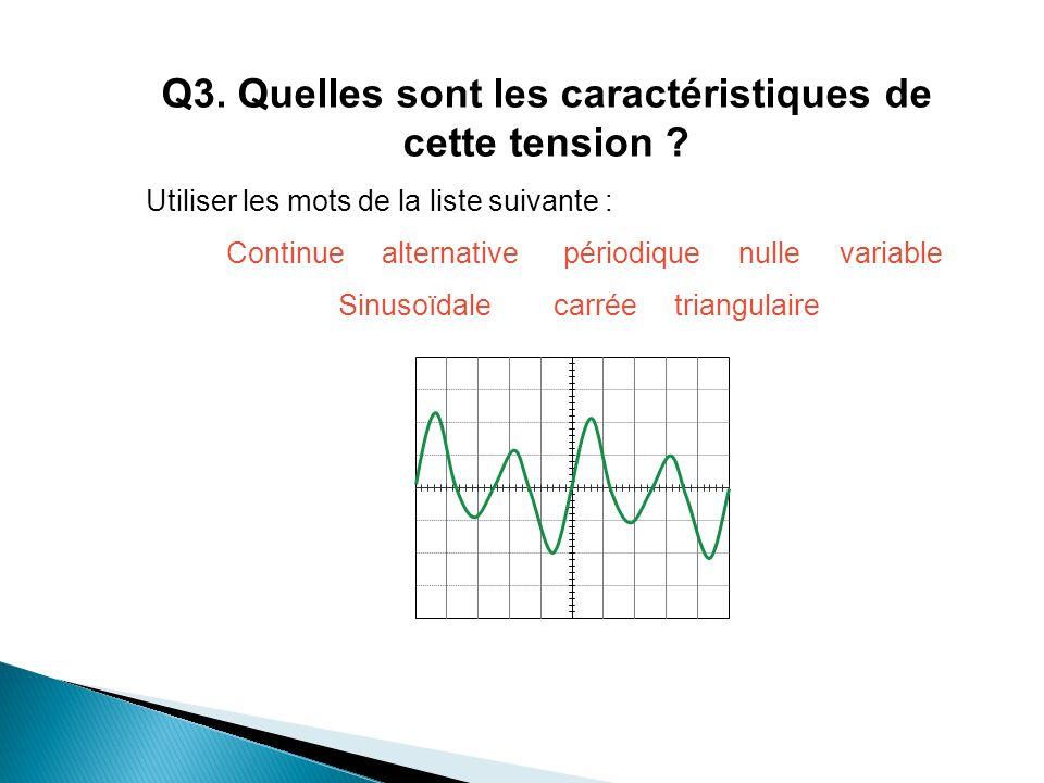 Q3. Quelles sont les caractéristiques de cette tension ? Utiliser les mots de la liste suivante : Continue alternative périodique nulle variable Sinus