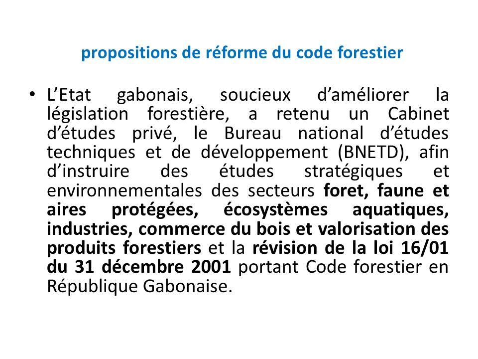 propositions de réforme du code forestier LEtat gabonais, soucieux daméliorer la législation forestière, a retenu un Cabinet détudes privé, le Bureau