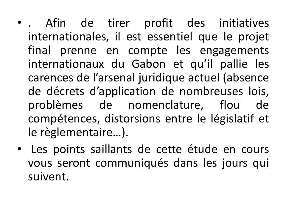 . Afin de tirer profit des initiatives internationales, il est essentiel que le projet final prenne en compte les engagements internationaux du Gabon