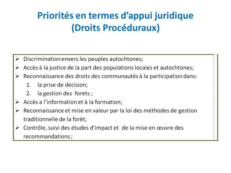 Priorités en termes dappui juridique (Droits Procéduraux)