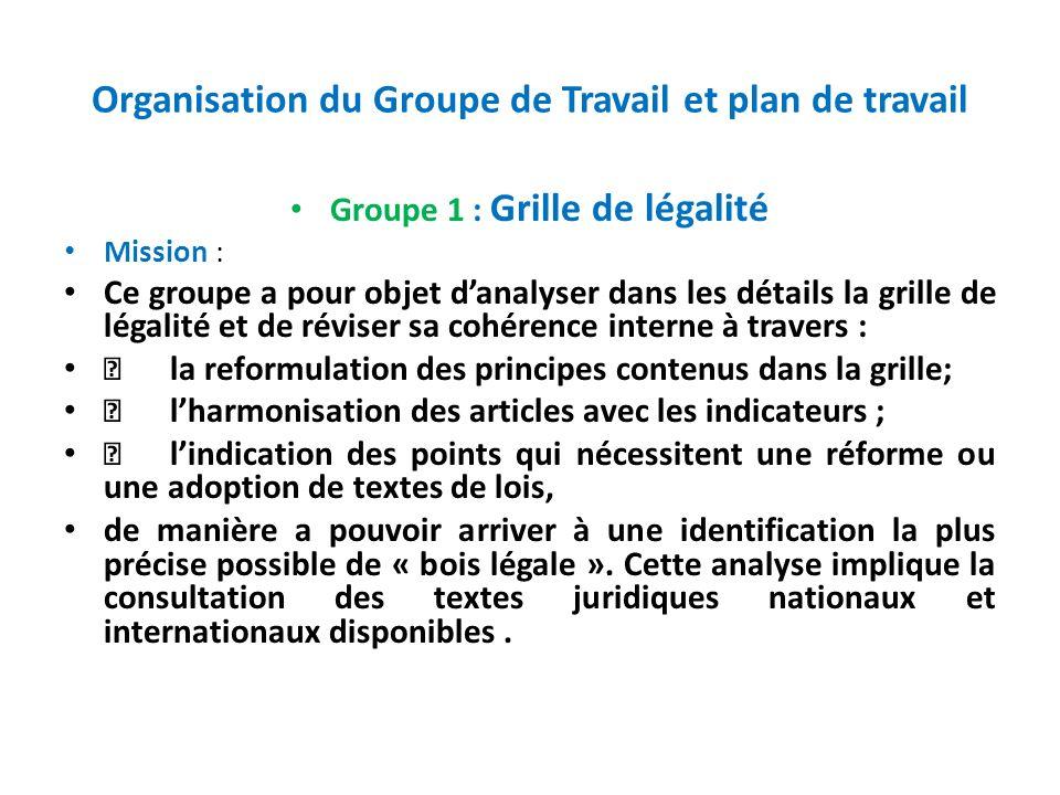 Organisation du Groupe de Travail et plan de travail Groupe 1 : Grille de légalité Mission : Ce groupe a pour objet danalyser dans les détails la gril