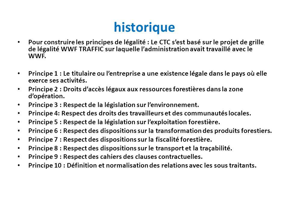 historique Pour construire les principes de légalité : Le CTC sest basé sur le projet de grille de légalité WWF TRAFFIC sur laquelle ladministration a
