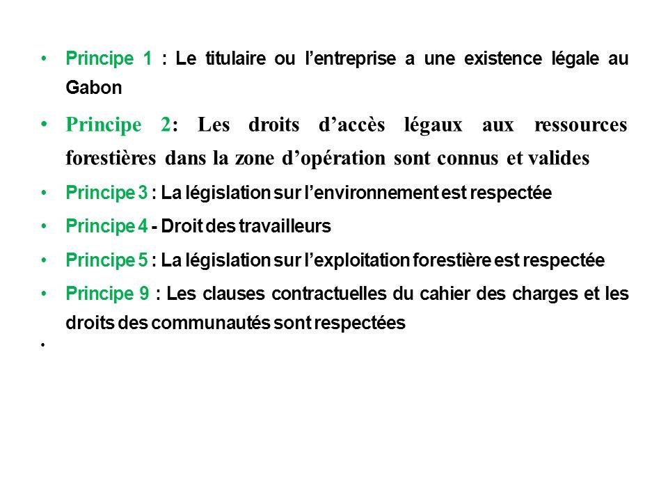 m Principe 1 : Le titulaire ou lentreprise a une existence légale au Gabon Principe 2: Les droits daccès légaux aux ressources forestières dans la zon