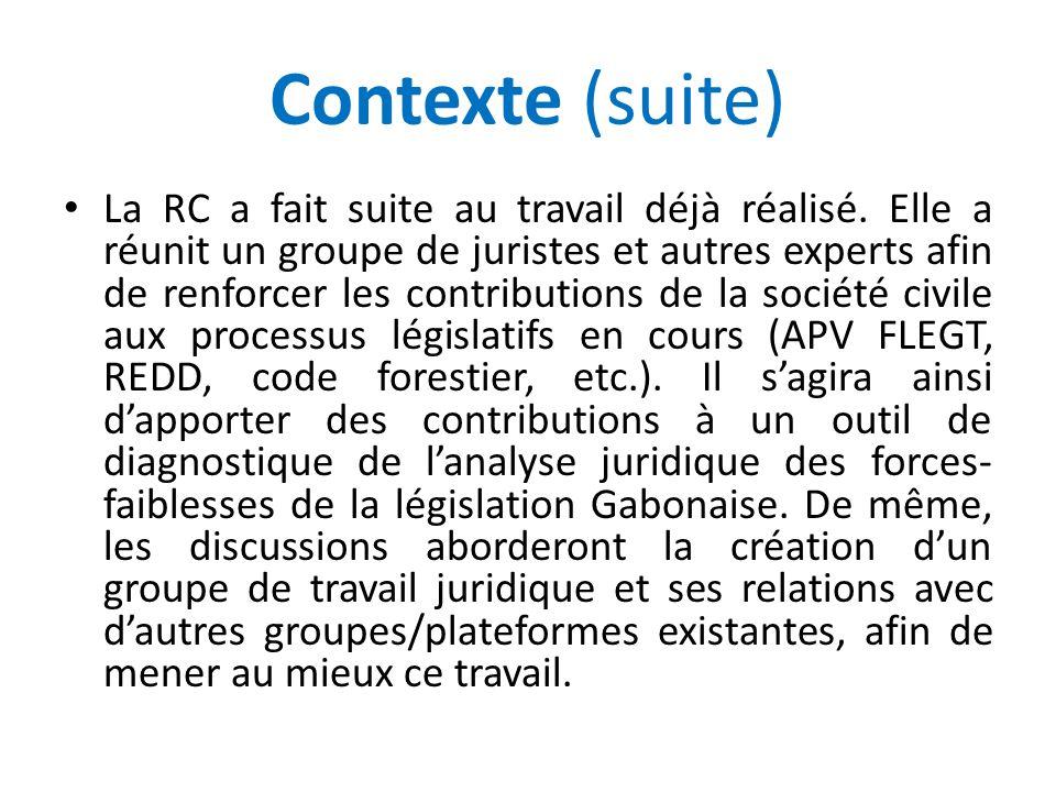 Contexte (suite) La RC a fait suite au travail déjà réalisé. Elle a réunit un groupe de juristes et autres experts afin de renforcer les contributions