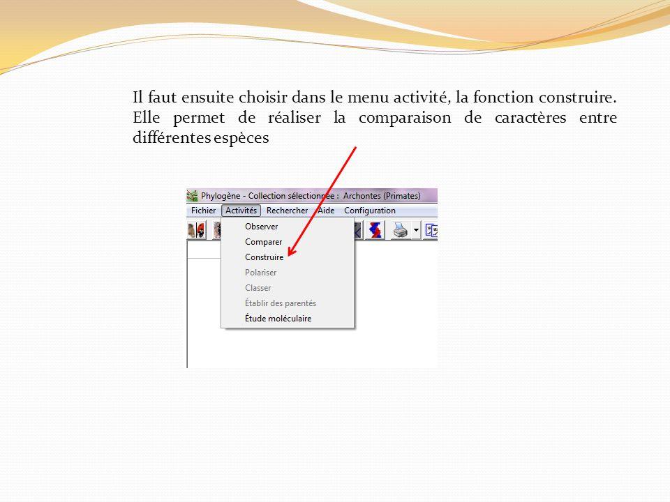 Il faut ensuite choisir dans le menu activité, la fonction construire. Elle permet de réaliser la comparaison de caractères entre différentes espèces