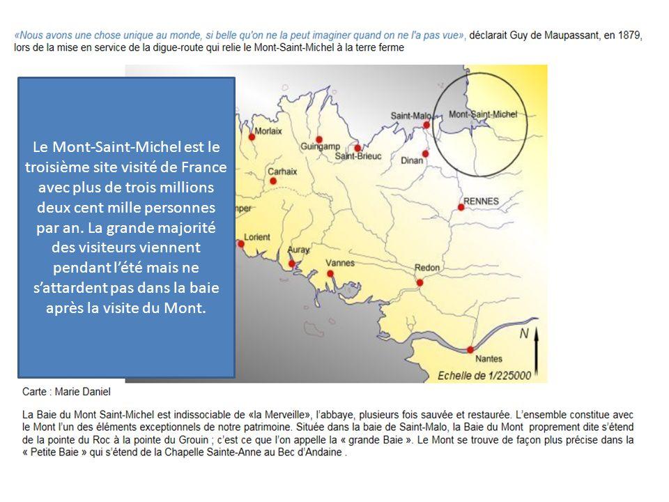 Le Mont-Saint-Michel est le troisième site visité de France avec plus de trois millions deux cent mille personnes par an. La grande majorité des visit
