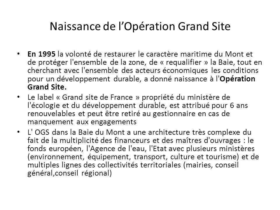 Naissance de lOpération Grand Site En 1995 la volonté de restaurer le caractère maritime du Mont et de protéger l'ensemble de la zone, de « requalifie