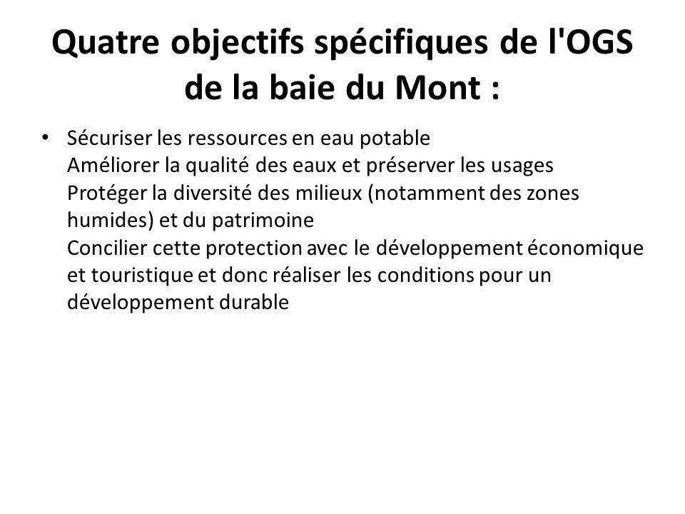 Quatre objectifs spécifiques de l'OGS de la baie du Mont : Sécuriser les ressources en eau potable Améliorer la qualité des eaux et préserver les usag