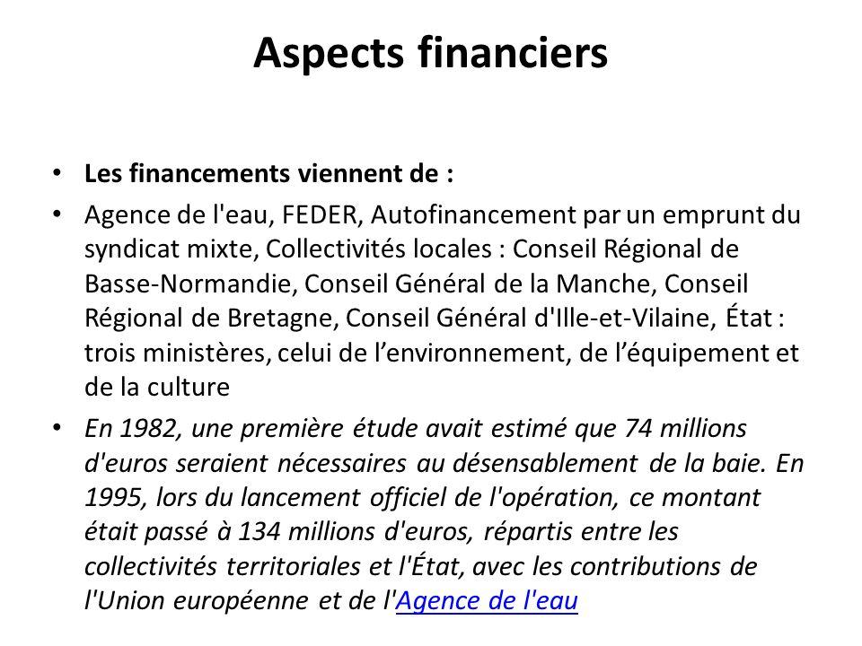 Aspects financiers Les financements viennent de : Agence de l'eau, FEDER, Autofinancement par un emprunt du syndicat mixte, Collectivités locales : Co