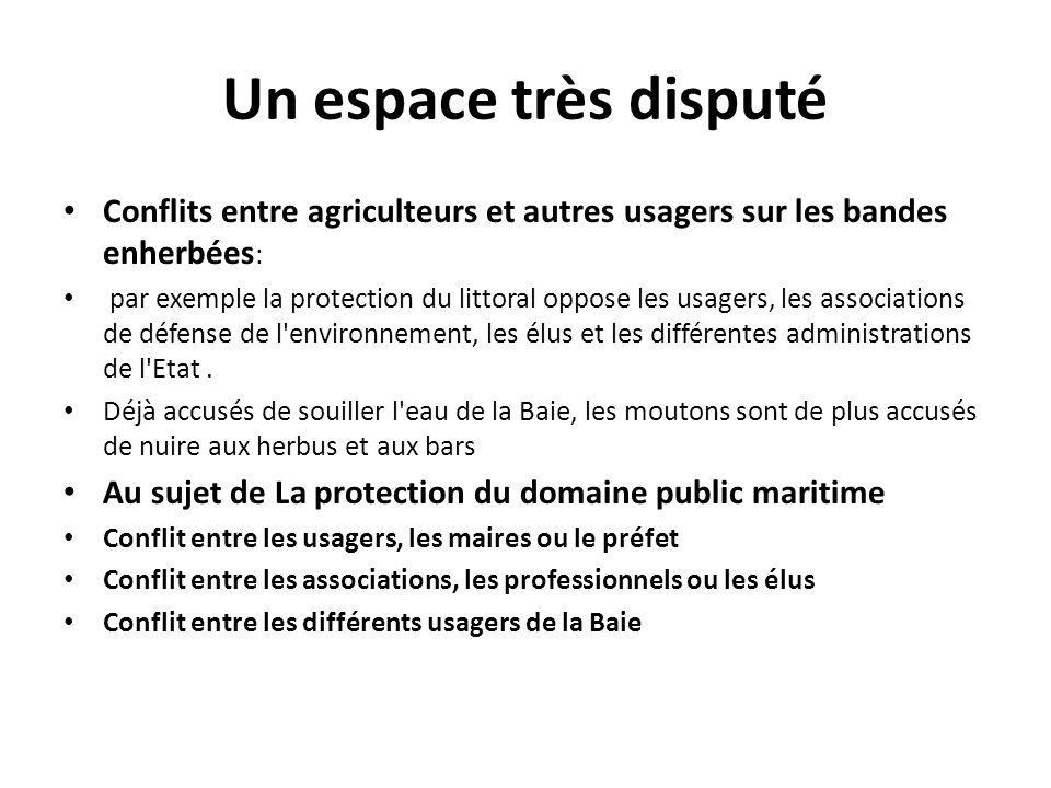 Un espace très disputé Conflits entre agriculteurs et autres usagers sur les bandes enherbées : par exemple la protection du littoral oppose les usage