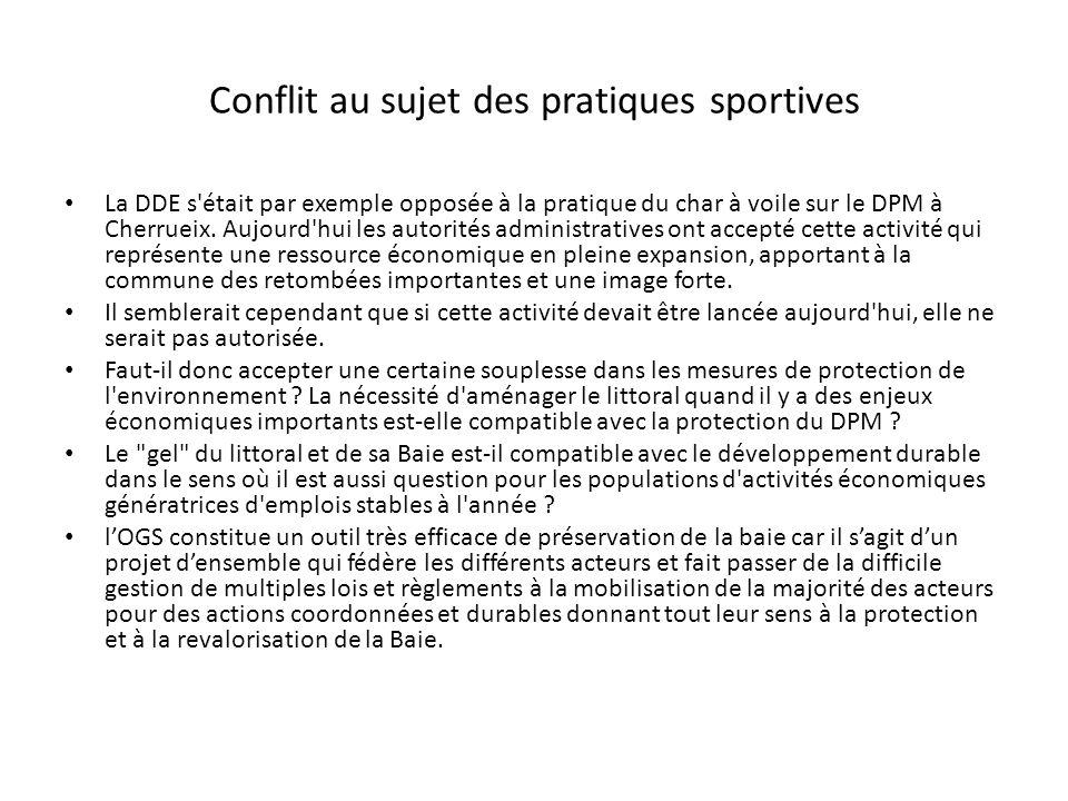Conflit au sujet des pratiques sportives La DDE s'était par exemple opposée à la pratique du char à voile sur le DPM à Cherrueix. Aujourd'hui les auto