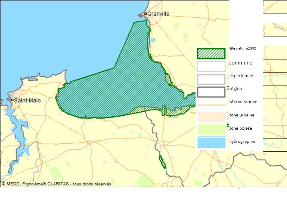 Site natur a2000 commune département région réseau routier zone urbaine zone boisée hydrographie
