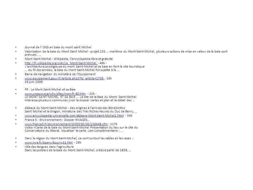 Journal de l' OGS en baie du mont saint Michel Valorisation de la baie du Mont Saint Michel - projet 21b... maritime du Mont-Saint-Michel, plusieurs a