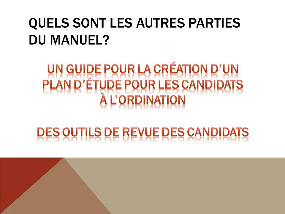 QUELS SONT LES AUTRES PARTIES DU MANUEL?