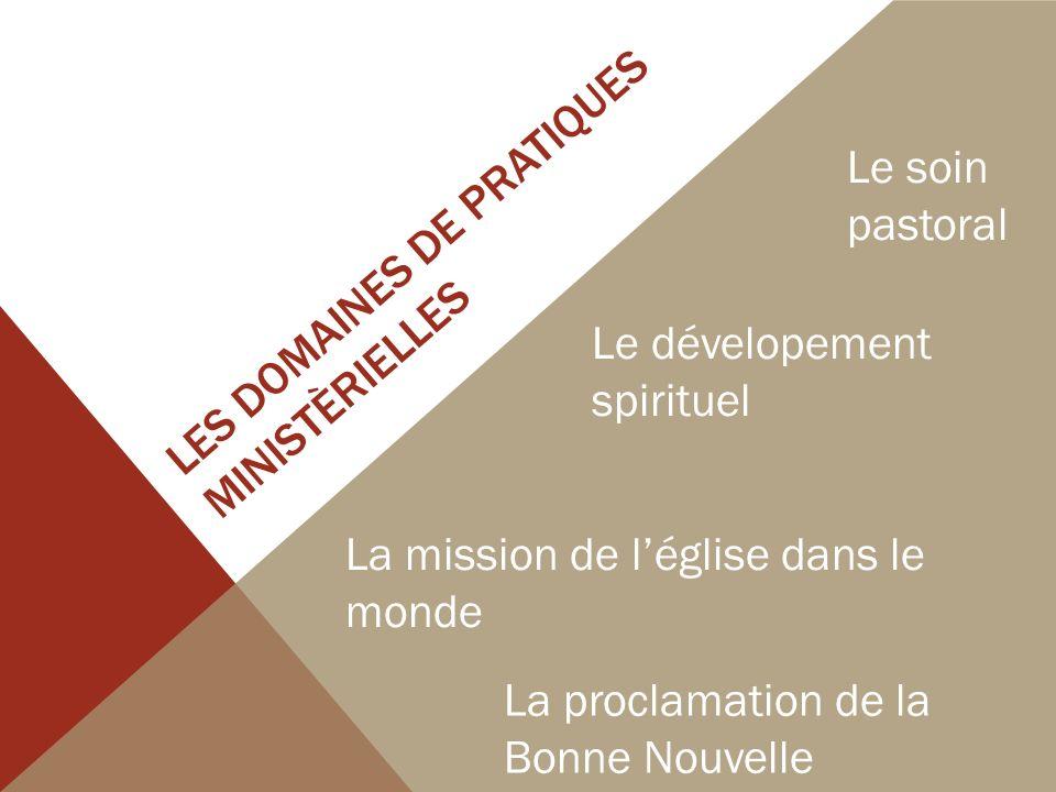 LES DOMAINES DE PRATIQUES MINISTÈRIELLES Le soin pastoral Le dévelopement spirituel La mission de léglise dans le monde La proclamation de la Bonne Nouvelle