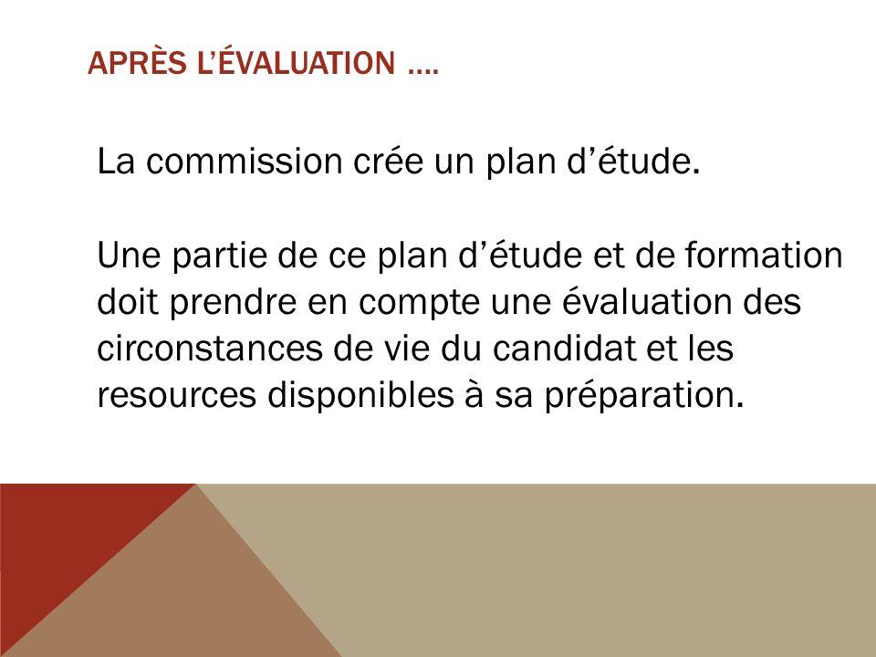 APRÈS LÉVALUATION …. La commission crée un plan détude.