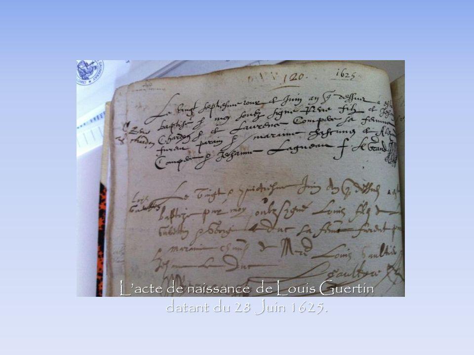 Lacte de naissance de Louis Guertin datant du 28 Juin 1625.