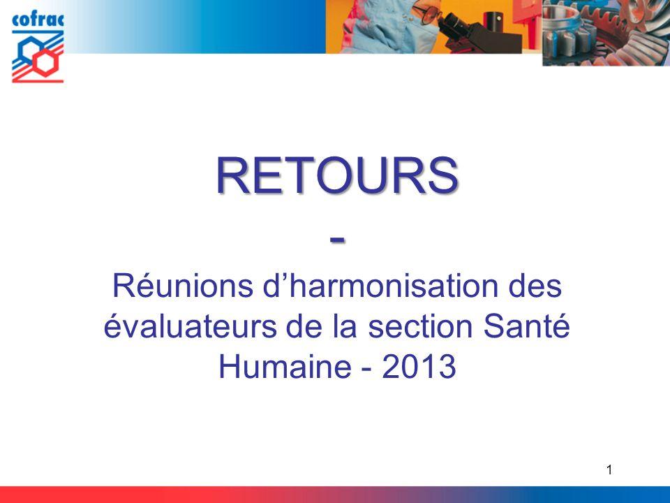 RETOURS- Réunions dharmonisation des évaluateurs de la section Santé Humaine - 2013 1