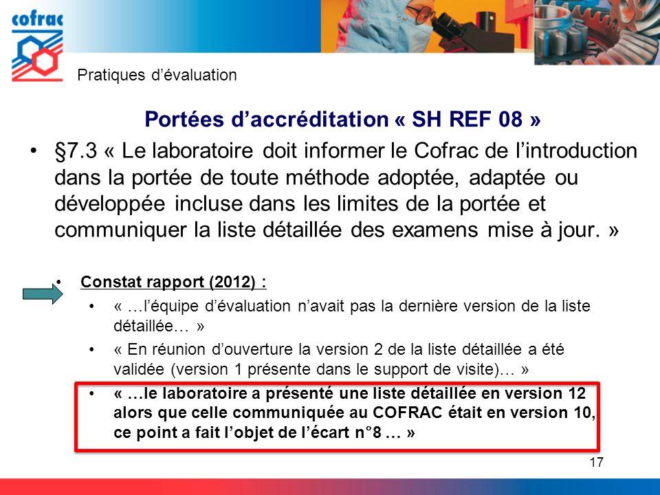 §7.3 « Le laboratoire doit informer le Cofrac de lintroduction dans la portée de toute méthode adoptée, adaptée ou développée incluse dans les limites