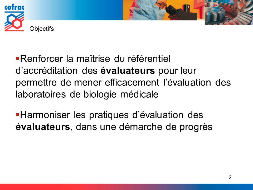 Objectifs Renforcer la maîtrise du référentiel daccréditation des évaluateurs pour leur permettre de mener efficacement lévaluation des laboratoires d