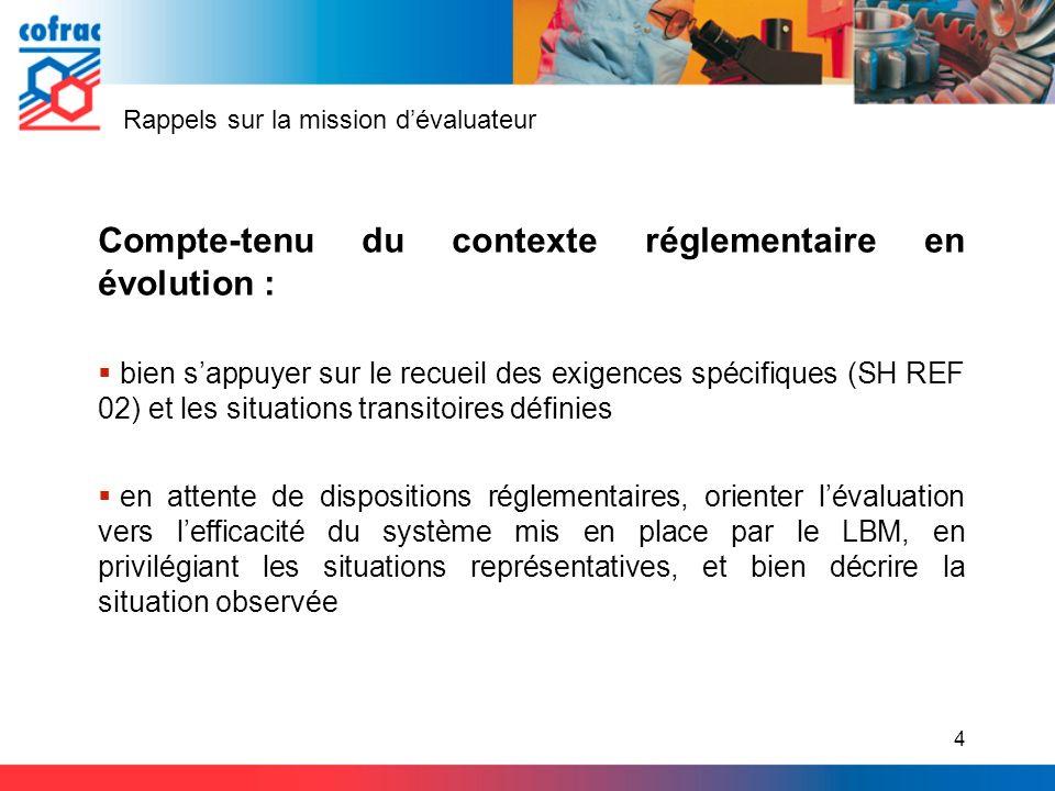 Rappels sur la mission dévaluateur Compte-tenu du contexte réglementaire en évolution : bien sappuyer sur le recueil des exigences spécifiques (SH REF
