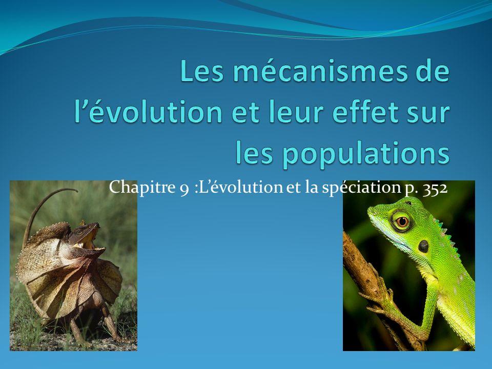 Chapitre 9 :Lévolution et la spéciation p. 352