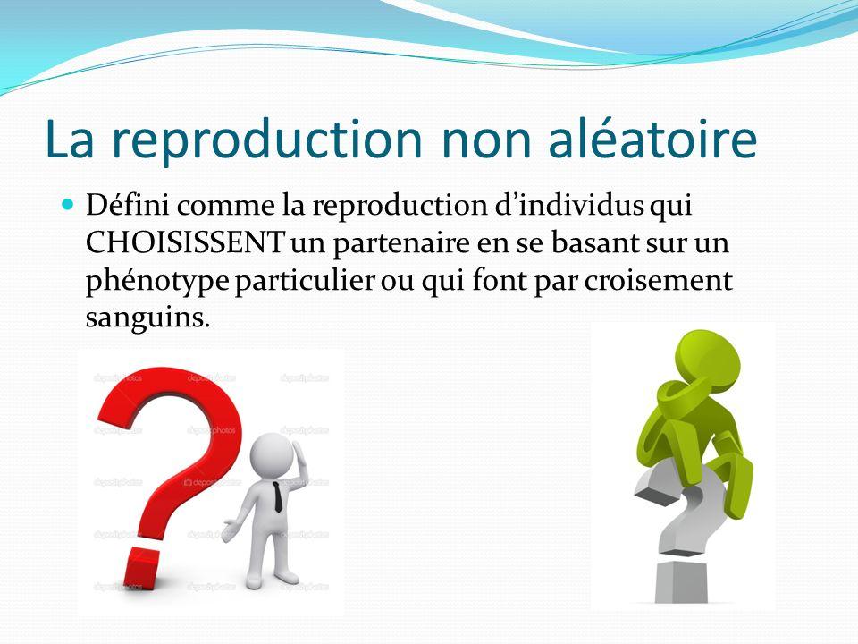 La reproduction non aléatoire Défini comme la reproduction dindividus qui CHOISISSENT un partenaire en se basant sur un phénotype particulier ou qui font par croisement sanguins.