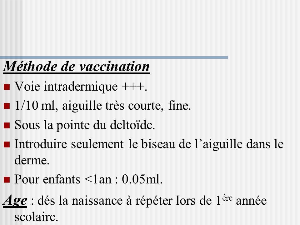 RÈGLES DE VACCINATION Vaccin vivant date de validité. Conservation à froid +4°C, à labri de la lumière. Vaccin lyophilisé, conservation prolongée. A m