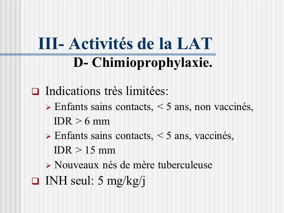 Contre indications Toutes les maladies infectieuses en cours. Traitement corticoïde ou Immunosuppresseur. Eczéma en période suintante.
