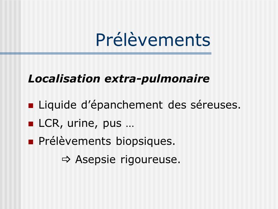 Prélèvements Localisation pulmonaire : Expectoration, le matin à jeun 3 jours de suite. Flacons propres, fermeture étanche. Sécrétions bronchiques # s