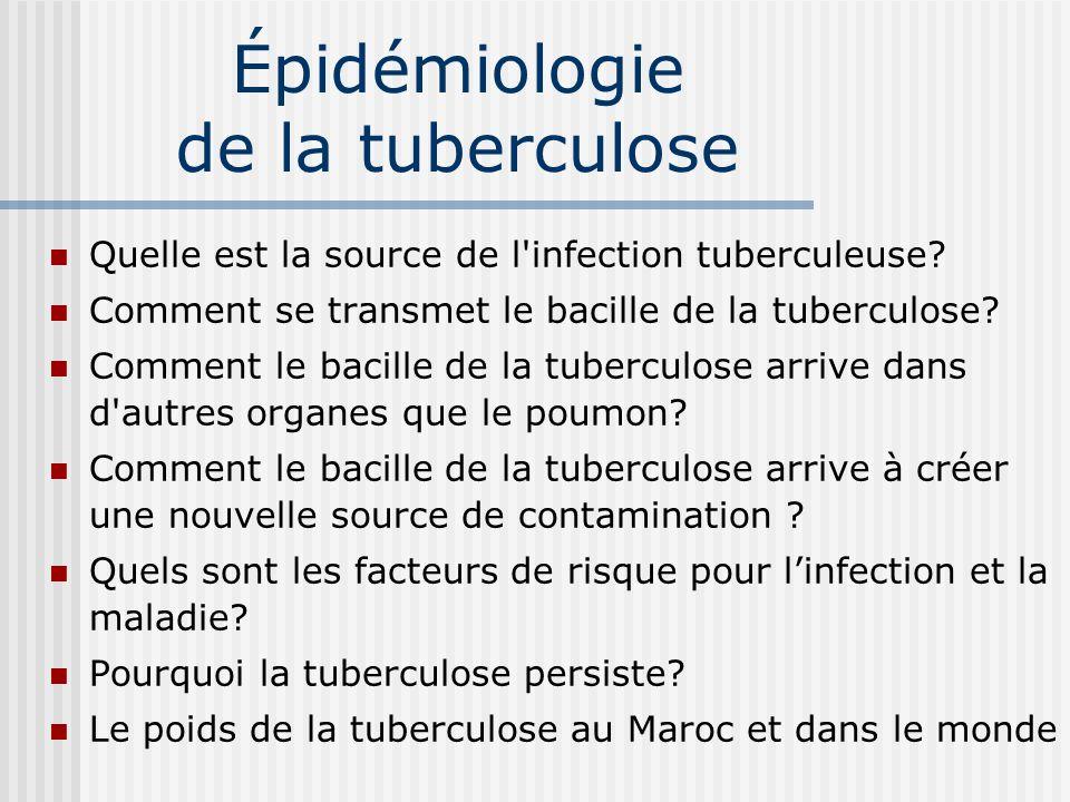 Épidémiologie de la tuberculose Quelle est la source de l infection tuberculeuse.