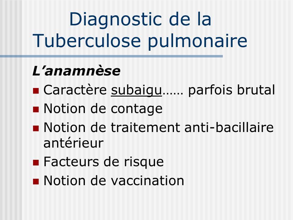Diagnostic de la Tuberculose pulmonaire Circonstances de découverte Signes extra respiratoires Détresse respiratoire Découverte systématique À loccasi