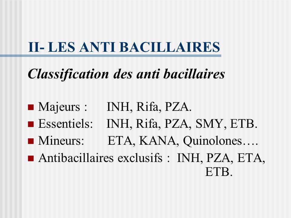 II- LES ANTI BACILLAIRES Critères de classification 1. Bactéricidie précoce : INH, Rifa (SMY). 2. Activité stérilisante : PZA, Rifa. 3. Prévention des